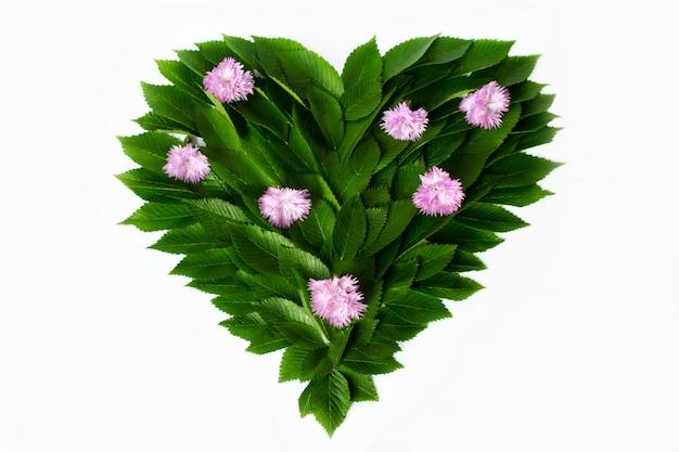 Grüne blätter in form von herzen. mit rosa blumen geschmückt. das konzept der liebe zur natur und zum schutz der umwelt.
