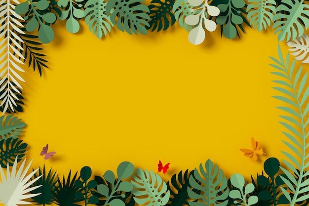 Grüne blätter sind auf gelbem hintergrund, butterfly papierfliege gerahmt
