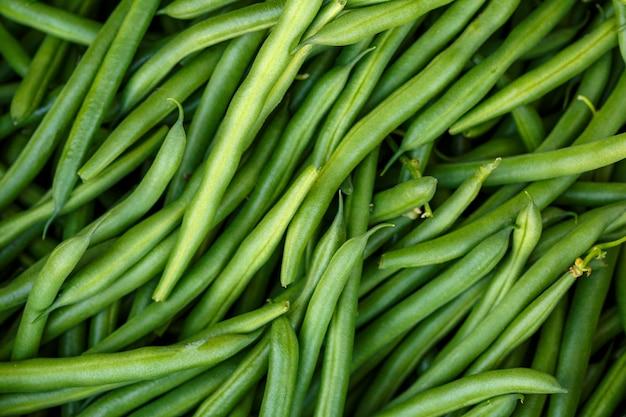 Grüne bohnen das konzept eines vegetarischen gesunden lebensmittels.