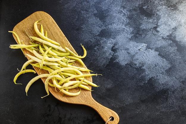 Grüne bohnen gelbe farbe hülsenfrüchte zutat