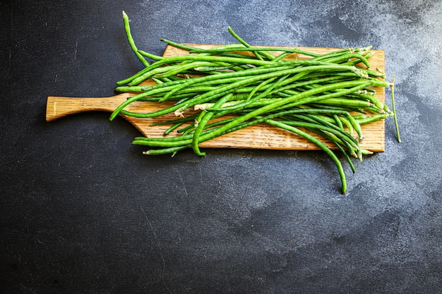 Grüne bohnen rohe hülsenfrüchte schmackhaftes essen