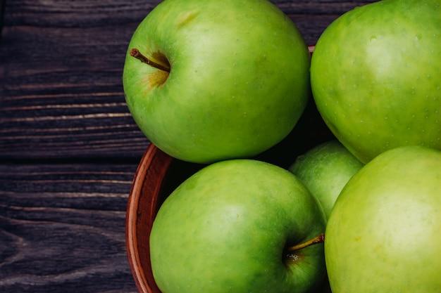 Grüne draufsicht der äpfel