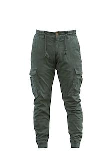 Grüne farbe der jeanshose cargohose sport bottom jogger isoliert auf weiß mit clipping path