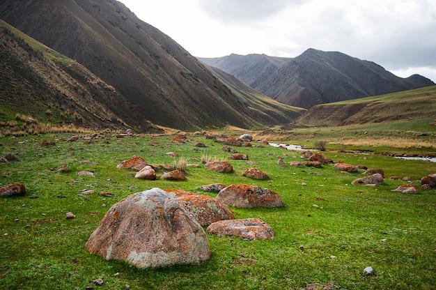 Grüne gebirgstallandschaft. große steine im vordergrund.