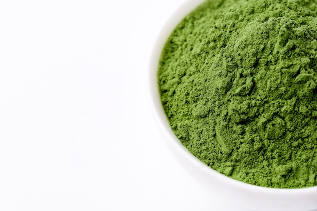 Grüne gemüsepulvertextur-nahaufnahme von oben