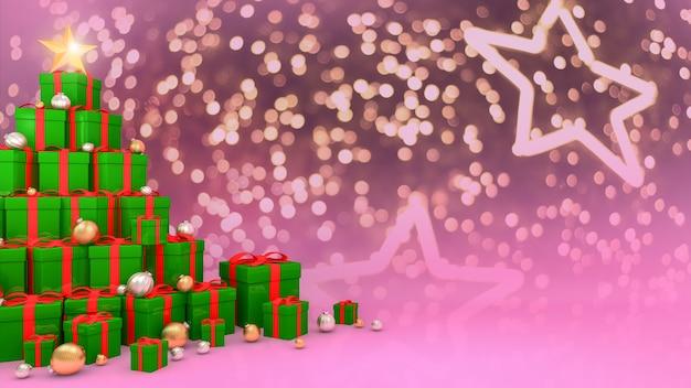 Grüne geschenkboxen mit roten bändern, die in der form eines weihnachtsbaumes auf hellem bokeh-hintergrund ausgelegt sind., 3d-darstellung.