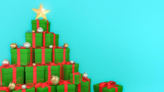Grüne geschenkboxen mit roten bändern, die in der form eines weihnachtsbaumes mit blauem hintergrund ausgelegt sind., 3d-darstellung.