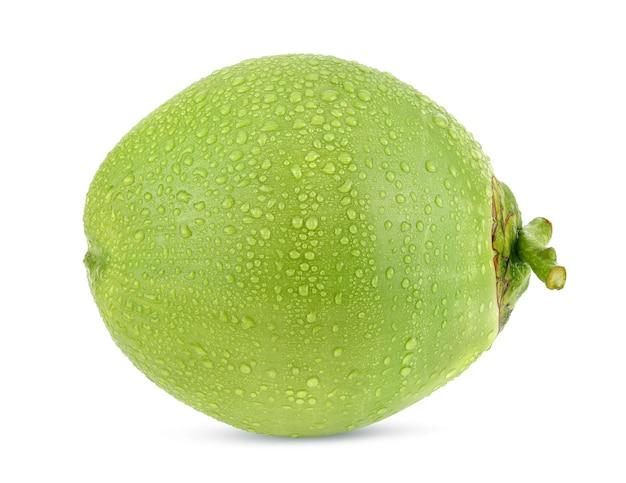 Grüne kokosnuss mit wassertropfen lokalisiert auf weißem hintergrund. volle schärfentiefe