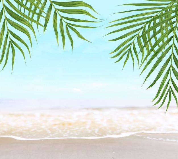 Grüne kokospalme verlässt bäume auf schönem sandstrand