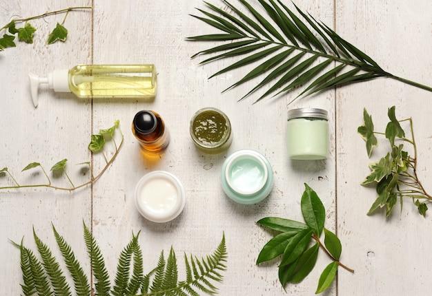 Grüne kosmetische anordnung