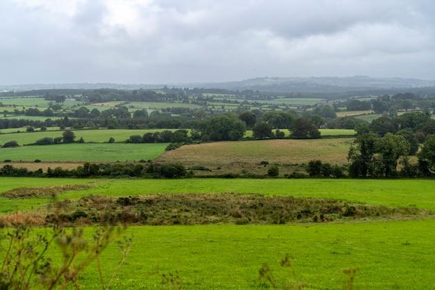 Grüne landschaft an einem regnerischen tag.