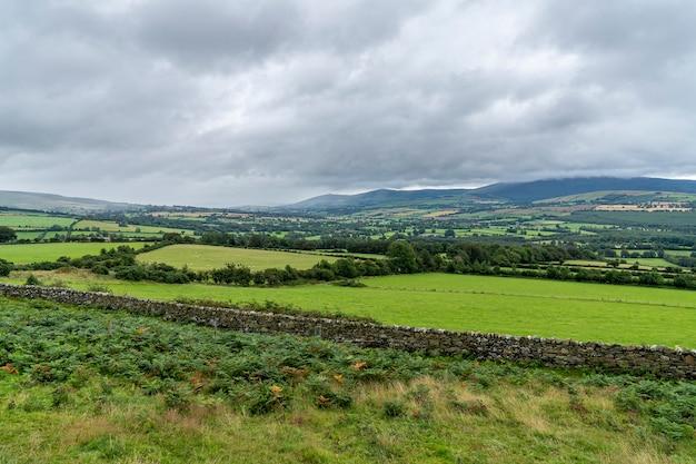 Grüne landschaft an einem wolkigen tag.