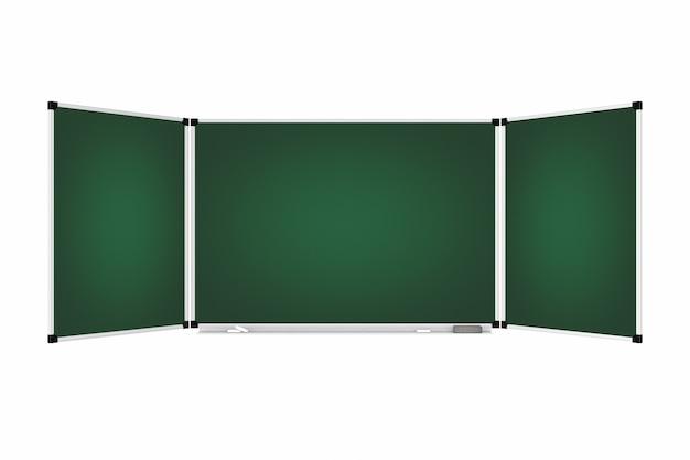 Grüne leere dreiteilige tafel oder tafel mit freiem platz für ihr design auf weißem hintergrund. 3d-rendering.