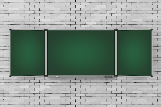 Grüne leere dreiteilige tafel oder tafel mit freiem platz für ihr design vor der mauer. 3d-rendering.