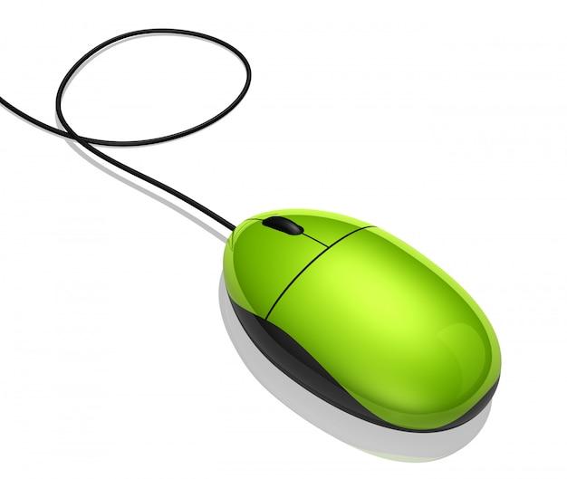 Grüne maus des computers 3d getrennt auf weiß
