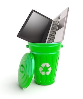 Grüne mülltonne mit computer