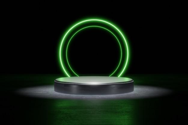 Grüne neonlicht-produkthintergrundbühne oder podest auf grunge-straßenboden mit leuchtpunkt