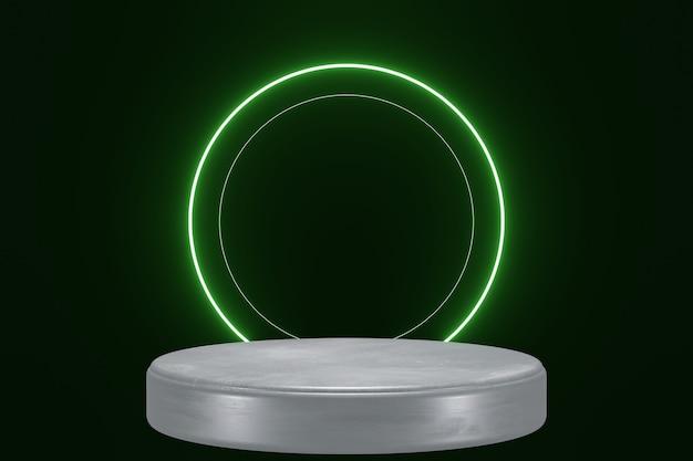 Grüne neonlichtprodukthintergrundbühne oder podestsockel auf schwarzem isoliertem hintergrund 3d