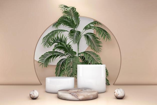 Grüne palmblätter des luxusbeige-marmorzylinders in pastellbrauner wand. konzept szene bühne schaufenster produkt parfüm promotion verkauf präsentation kosmetischen 3d-render