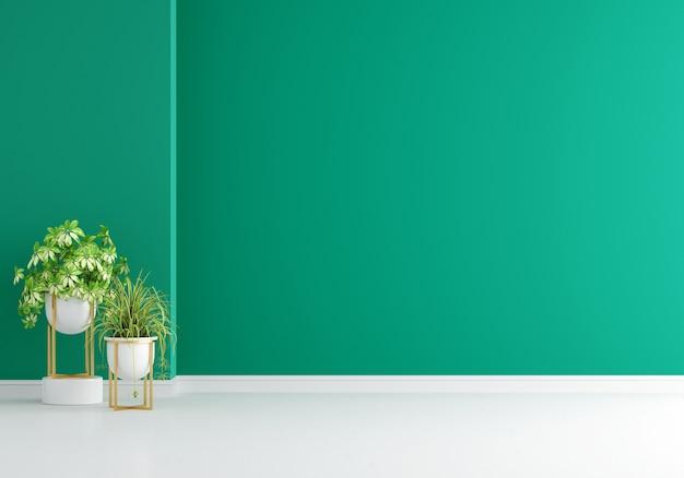 Grüne pflanze im grünen wohnzimmer mit kopierraum