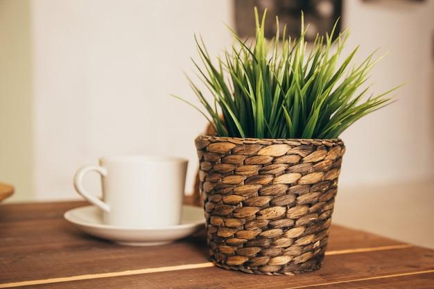 Grüne pflanze im topf auf tisch mit kaffeetasse