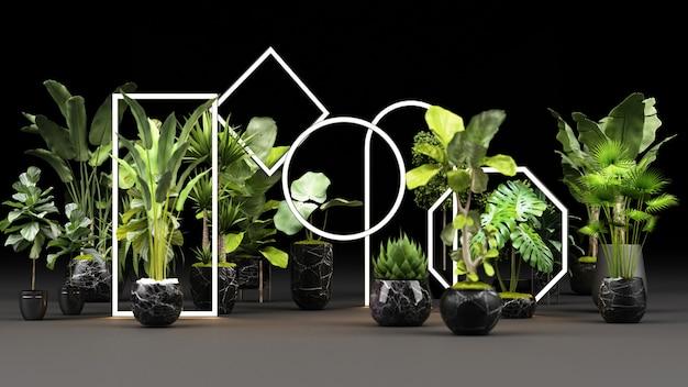 Grüne pflanzen in schwarzen marmortöpfen mit einem leuchtenden led-lichtrahmen-rendering