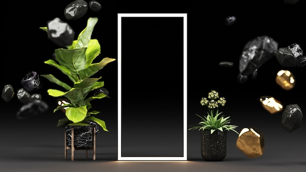 Grüne pflanzen in schwarzen marmortöpfen und gold mit einem leuchtenden led-lichtrahmen-rendering