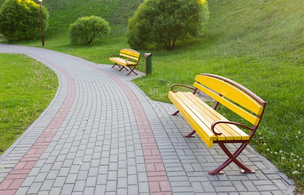Grüne rasenfläche im großstadtpark