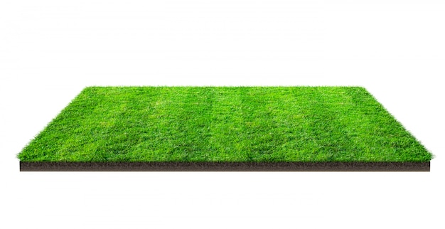 Grüne rasenfläche lokalisiert auf weiß mit beschneidungspfad. sportplatz. sommer teamspiele.