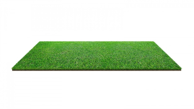 Grüne rasenfläche lokalisiert auf weiß mit beschneidungspfad.