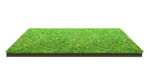 Grüne rasenfläche lokalisiert auf weiß mit beschneidungspfad