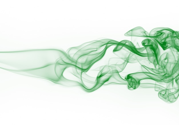 Grüne rauchbewegungszusammenfassung auf weißem hintergrund