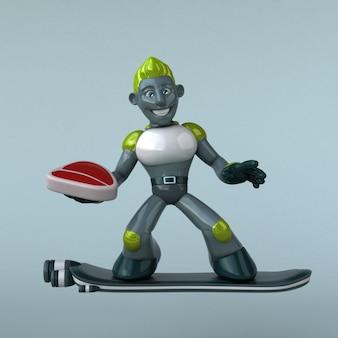 Grüne roboter-3d-illustration
