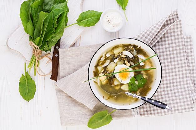 Grüne sauerampfer-suppe in weißer schüssel