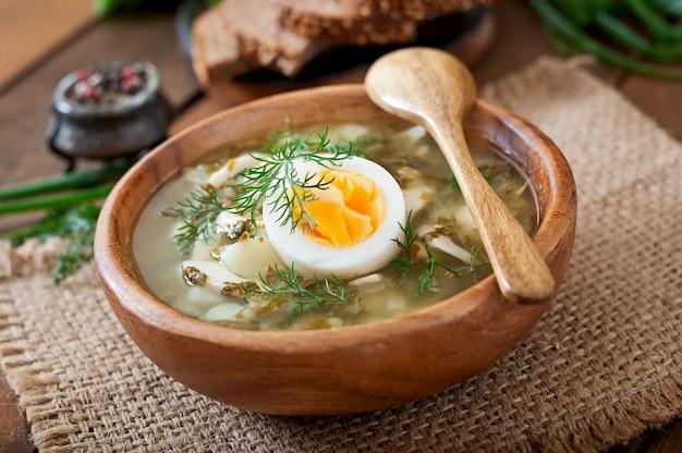 Grüne sauerampfer-suppe