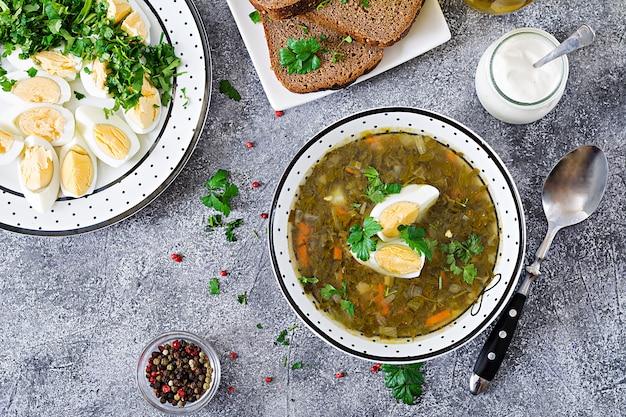 Grüne sauerampfersuppe mit eiern. sommermenü. gesundes essen. flach liegen. ansicht von oben