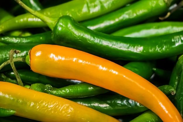 Grüne scharfe chilischote nahaufnahme. mexikanisches gemüse
