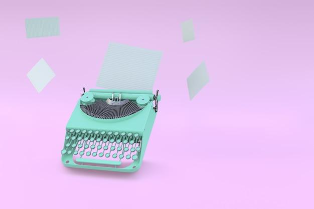 Grüne schreibmaschine und papier, die auf einem rosa pastellhintergrund schweben. minimales konzept.