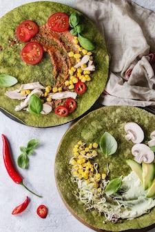 Grüne spinat-tortillas