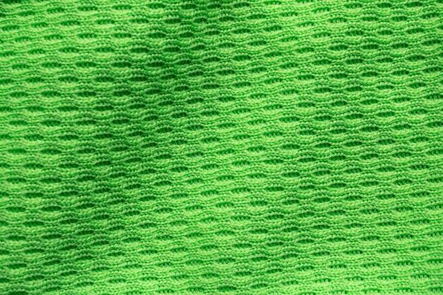 Grüne sportbekleidung stoff fußball shirt trikot textur nahaufnahme