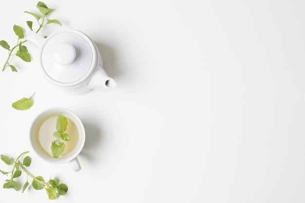 Grüne tadellose blätter und teecup mit der teekanne lokalisiert auf weißem hintergrund