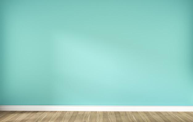 Grüne tadellose wand auf holzfußbodeninnenraum. 3d-rendering