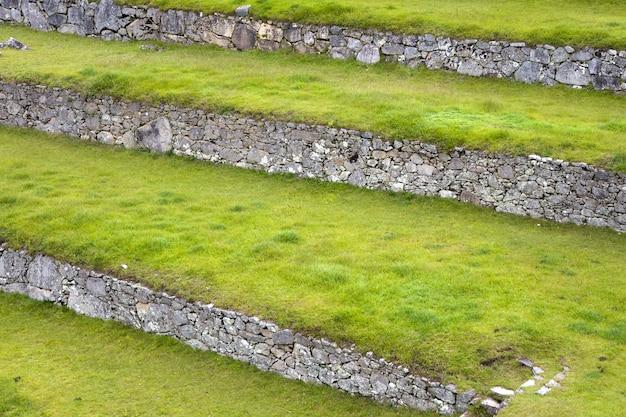 Grüne terrassen bei machu picchu in peru
