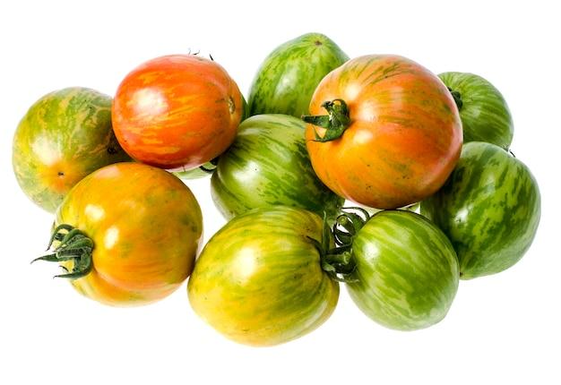 Grüne und reife tomaten mit gestreifter hautfarbe.