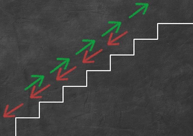 Grüne und rote pfeile gehen treppen rauf und runter. geschäfts- und finanzkonzept