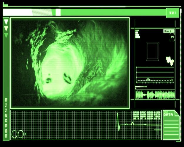 Grüne und schwarze schnittstelle, die aderninnenraum zeigt