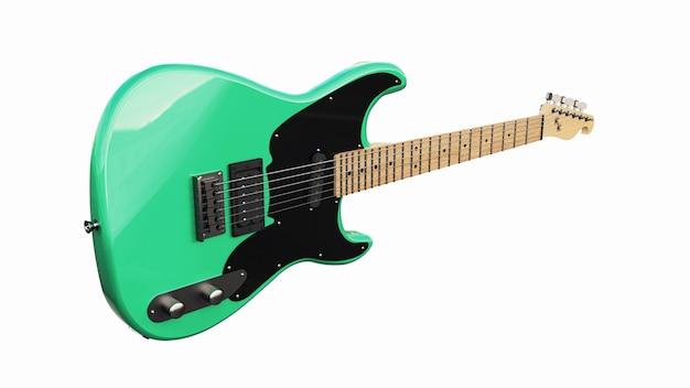 Grüne und schwarze sechssaitige e-gitarre auf einem weißen, isolierten hintergrund. 3d-rendering.