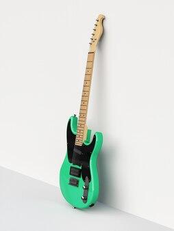 Grüne und schwarze sechssaitige e-gitarre auf weißem hintergrund, an die wand gelehnt. 3d-rendering.