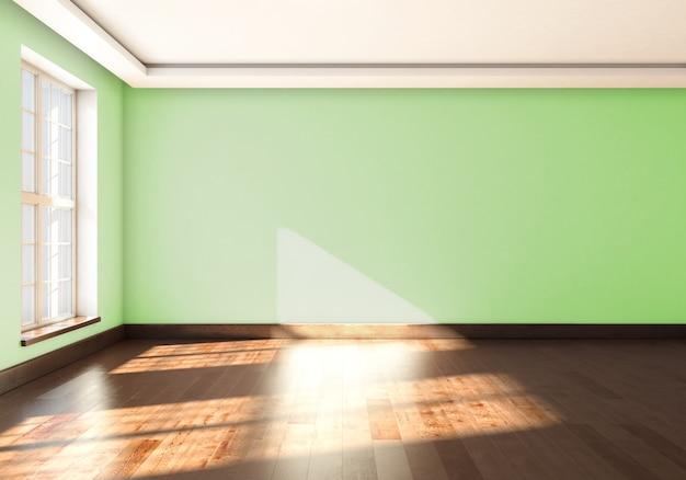 Grüne wände im leeren raum mit fenster. 3d-rendering.