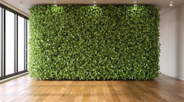Grüne wand im leeren raum ecostyle im innenraum 3d render